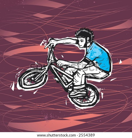 vector drawing of a man riding BMX
