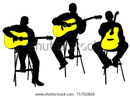 Vector drawing of a man with an acoustic guitar