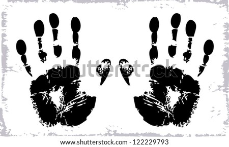 Vector drawing of a prints of human hands on a white background.