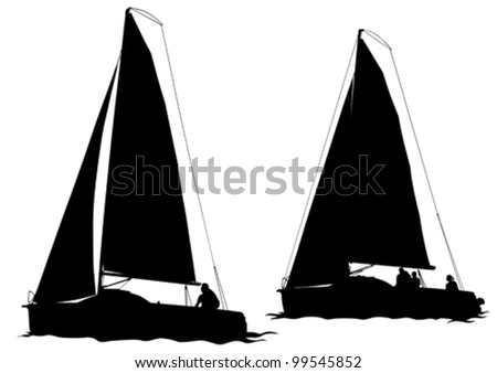 Vector drawing of a sailing ship on water