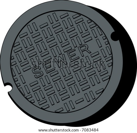 Vector drawing of a sewer cover isolated on a white background.