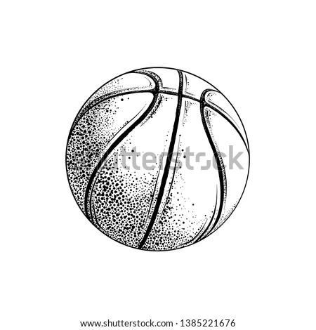 Vector drawing of basketball ball in black color, isolated on white background. Graphic illustration, hand drawing. Drawing for posters, decoration and print. Vector illustration