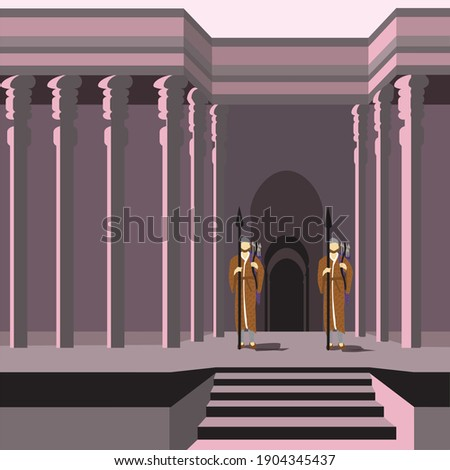 Vector drawing of Bigthan and Teresh: two eunuchs in service of the Persian king Ahasuerus, according to the Book of Esther. Against the background of an ancient palace Foto stock ©