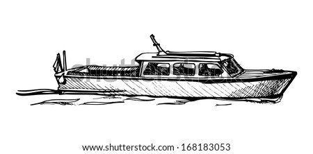 Vector drawing of boat stylized as engraving.