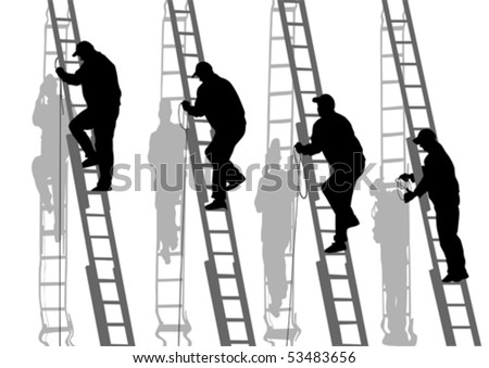 Vector drawing of building structures and worker on stairs