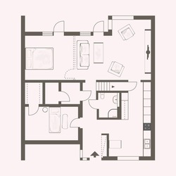 vector drawing of building with furniture in pink and brown
