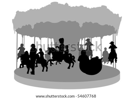 Vector drawing of children on carousel