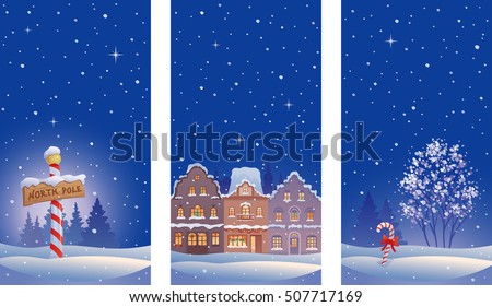 Vector drawing of Christmas night scenes with snowy old town and North Pole sign, vertical banners collection