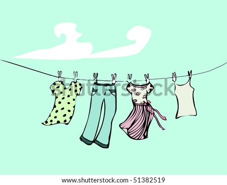 vector drawing of clothesline