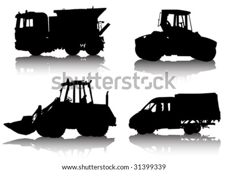 Vector drawing of construction equipment isolated silhouette on white