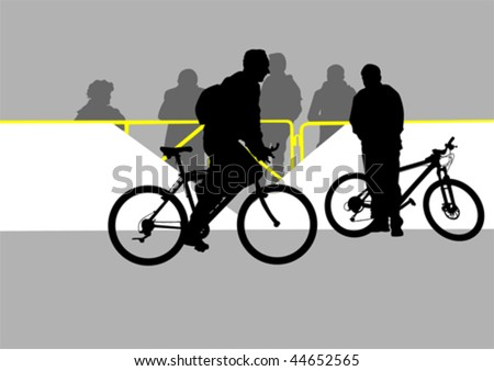 Vector drawing of cyclists and spectators at the fence