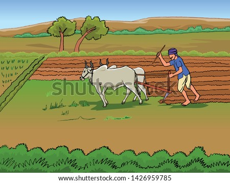 Vector Drawing of Farmer and Farming with bullock