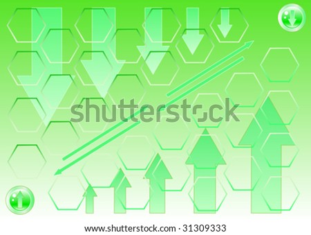 vector drawing of green arrows on a green background down, and up