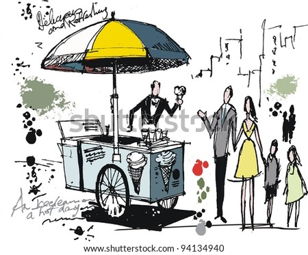 Vector drawing of ice cream cart with people in park - stock vector