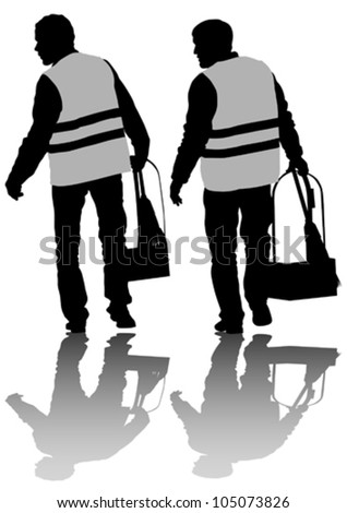 Vector drawing of janitors in uniform with the tools