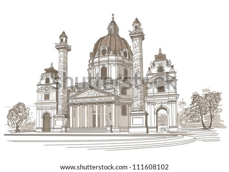 vector drawing of karlskirche