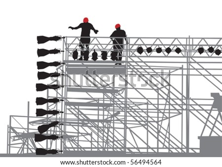 Vector drawing of lighting equipment on stage
