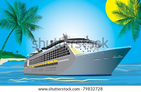 vector drawing of modern passenger cruise liner near tropical harbor