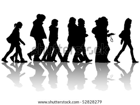 Vector drawing of pedestrians on the street. Silhouettes of people