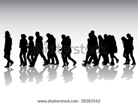 Vector drawing of pedestrians on the street. Silhouettes on white background