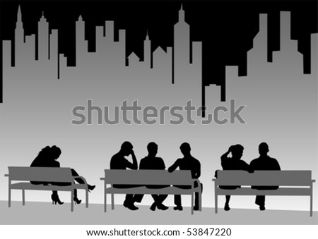 Vector drawing of people on city benches