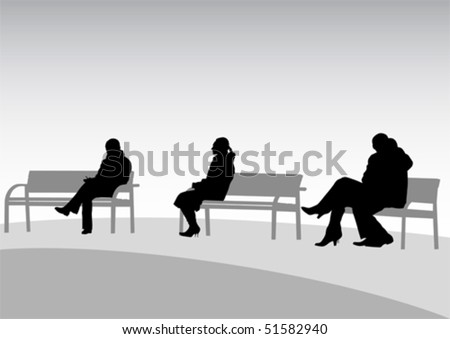 Vector Drawing Of People On Park Benches - 51582940 : Shutterstock
