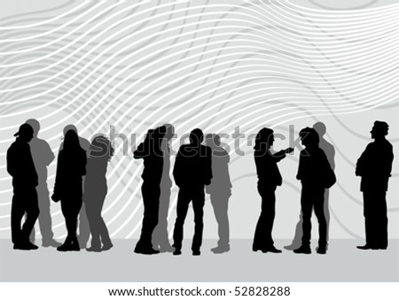 Vector drawing of people on street. Silhouettes of peoplе on street