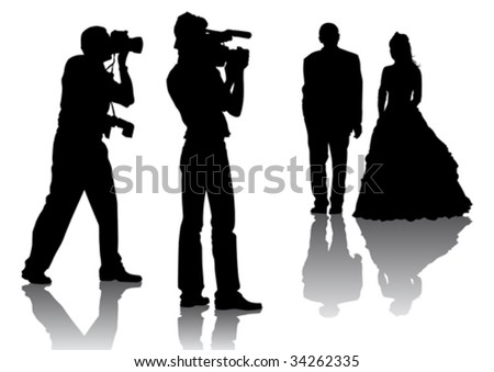 Vector drawing of photographers at a wedding. Silhouettes on a white background