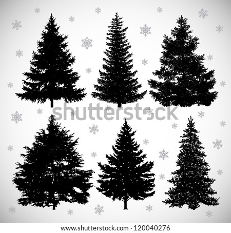 stock-vector-vector-drawing-of-six-black-silhouettes-spruces-against-the-background-of-snowflakes