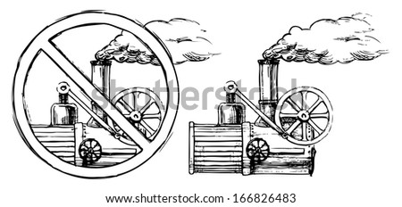 vector drawing of steam engine