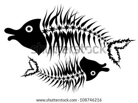 Fish Skeleton Drawing Abstract Fish Skeleton