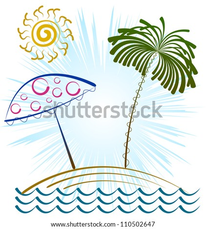 Vector drawing of the beach, palm, beach umbrella and sun.