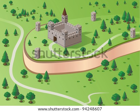 Vector drawing of the castle in the background section of the forest