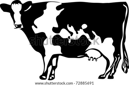 vector drawing of the cow with stylized map of the world