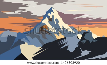 Vector drawing of the mountain peak. Highest mountain peak on the planet. Vector illustration of mountains, rocks and peaks.