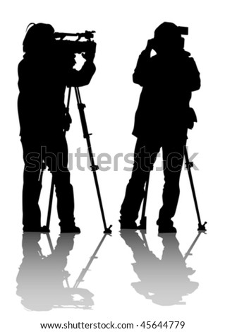 Vector drawing of the operator with a video camera. Silhouettes on white background