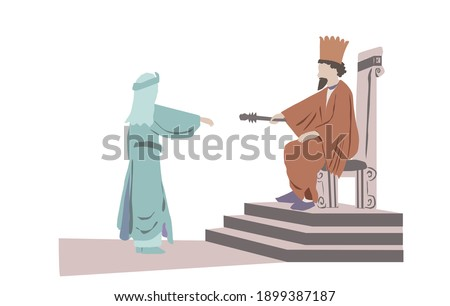 Vector drawing of the Persian king Ahasuerus extends the scepter to Queen Esther. One of the scenes in a scroll read by the Jews on Purim. Foto stock ©