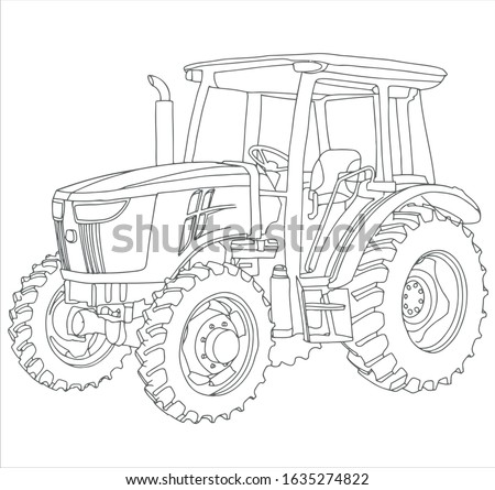 vector drawing of the tractor