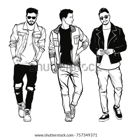 vector drawing of three fashion