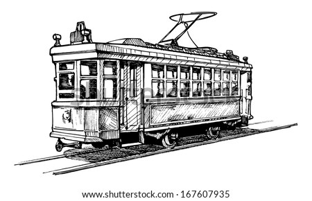 vector drawing of tram stylized ...