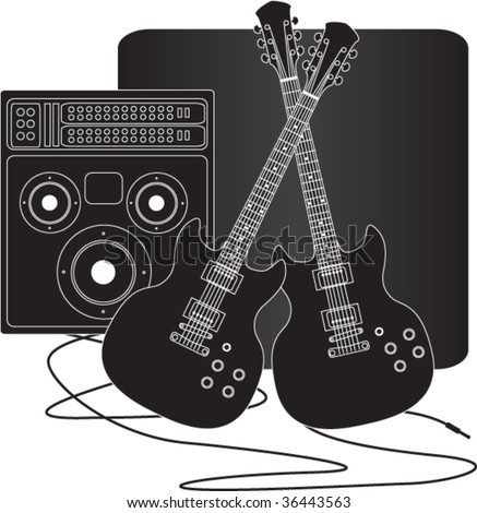 Vector drawing of two guitars and an amplifier - stock vector