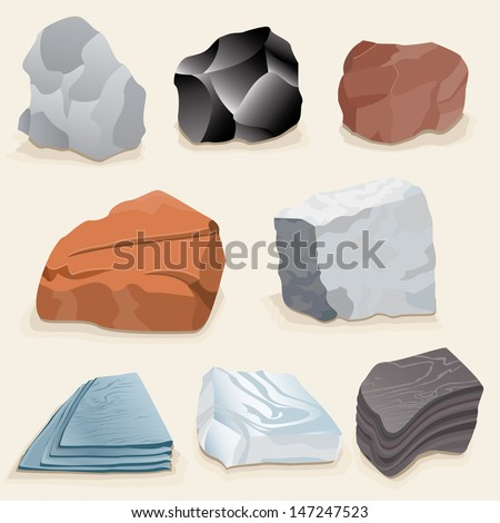 vector drawing of various rocks