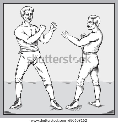 Vector drawing of Vintage / Old Timey Boxers Line art  / Easy to edit layers and groups, easy to colourize shape objects, No gradients or effects used.