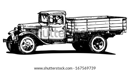 vector drawing of vintage truck ...
