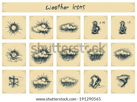 Vector drawing of weather icons stylized as engraving. Text written by hand