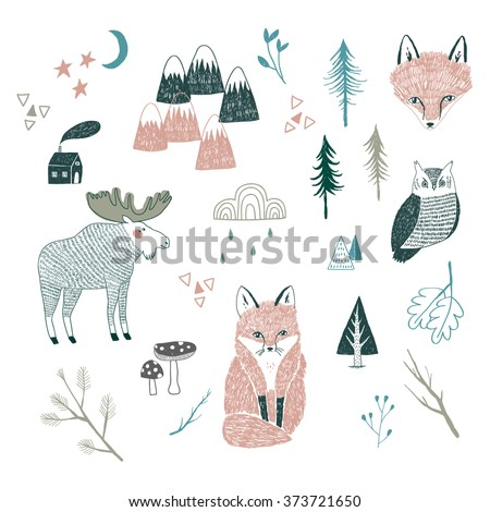 vector drawing of woodland animals, trees, mountains