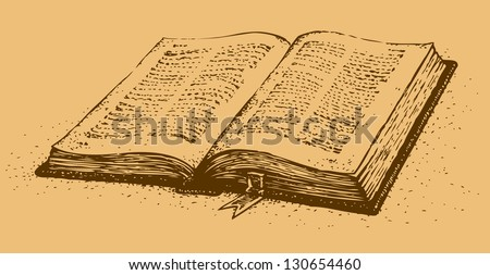 vector drawing old open book
