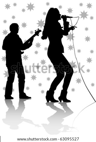 Vector drawing one girl singing with a microphone and guitarist
