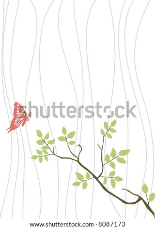 vector drawing, original nature decoration with branch and butterfly, ideal for stickers or wallpaper
