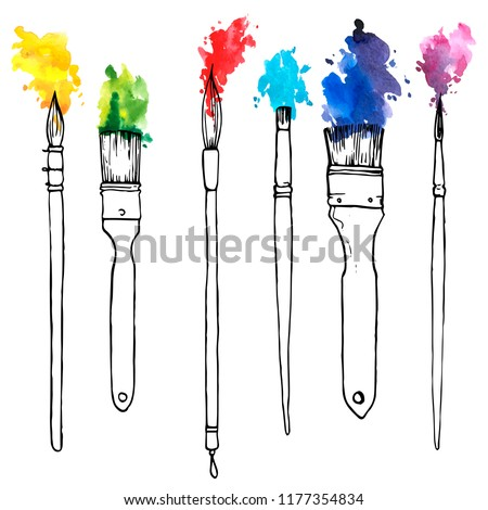 vector drawing paintbrushes with color paint, hand drawn illustration stock photo